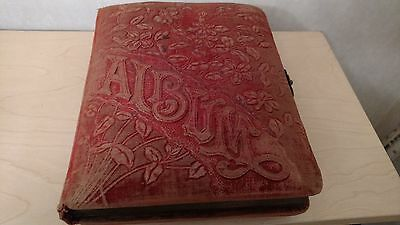 Late 1800s photo album with 16 tintype and 21 cabinet photos, vintage antique