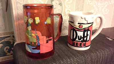"PAIR OF "" THE SIMPSONS "" MUGS- 1 x POTTERY "" DUFF BEER ""  + 1× INSULATED TANKARD"