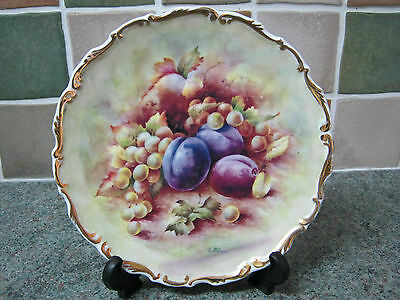 Pretty Scalloped  ~  Fruit Decorated China  ~  D Wallace  ~   Plums & Grapes