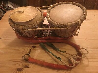 Vintage Drums Possibly Indian Tabla (Bayan Dayan) Or Bongo, Neck Strap & Beaters