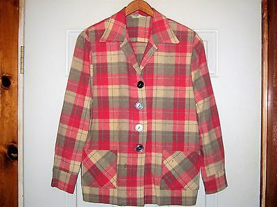 WOMENS VTG 1960s SEARS 49er PURE WOOL PINK PLAID ROCKABILLY BLAZER JACKET LARGE