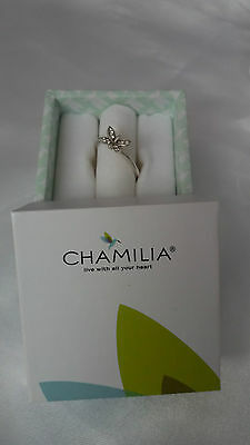 Chamilia 925 Sterling Silver Butterfly & Crystals Large Stacker Ring Size O Box