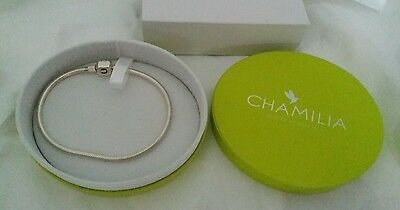"""Chamilia - 925 Sterling Silver 8"""" Charm Bracelet New & Boxed"""
