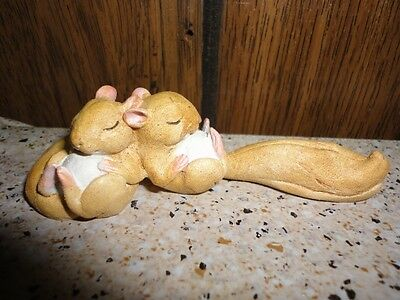 Pair of Little Small Lazy/Sleepy Squirrels Figurine~~Excellent