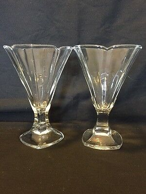 pair of delicate footed tulip parfait glasses made in France