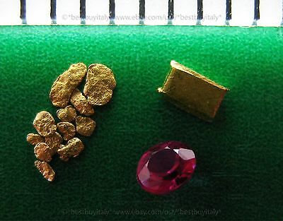 (UK) 12 gold nugget 0.6-1.5mm+1 authentic ruby+1 gold bullion 999