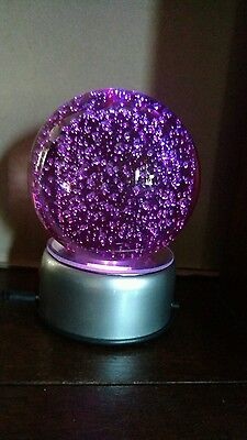 """4 1/2""""  pink glass bubble sphere crystal ball w/ color change led rotary stand"""