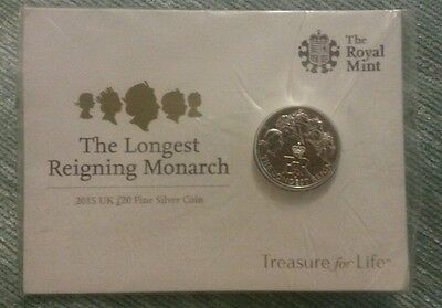 The Royal Mint*the Longest Reigning Monarch*2015 Uk £20 Fine Silver Coin