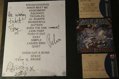 Beta Band Autographed Set List With Tickets & Heros To Zeros Promo Cd