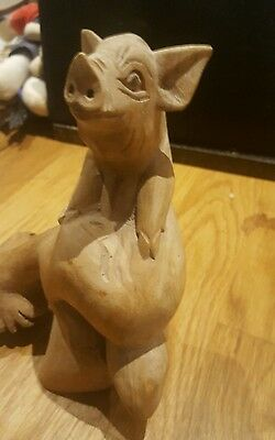 Hand Carved Made Wooden Pig on Parasite Wood Ornament Sculpture