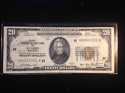 1929 St.Louis $20 Federal Reserve Note Low Serial Number Star Note *