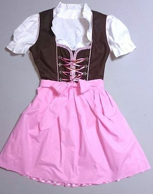 German,Trachten,May Festival,Oktoberfest,Dirndl Dress,3-pc.Sz.22,PINK,Brown,USA