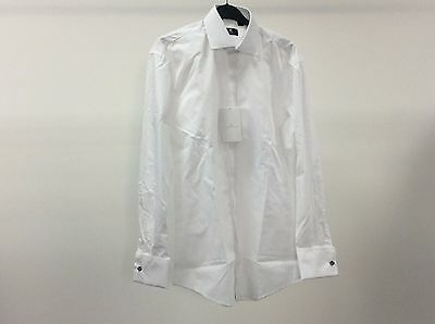 Mens White Standard Plain Tuxedo Formal Dinner Dress Shirt Size 15 - 9A276C