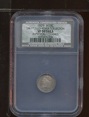 1829 Capped Bust Haft Dime 5C 5 Cent NCS Certified VF Detail Clean Reiver AA0165