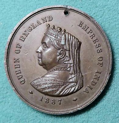 Victoria Queen of England Emperess of India 1887 coppered pewter  medal