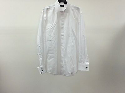 Mens White Standard Plain Tuxedo Formal Dinner Dress Shirt Size 15 1/2 - 9A277