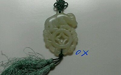 Vintage Chinese Jade Pendant (Zodiac Ox on Chinese Coin) on cord with Tassel