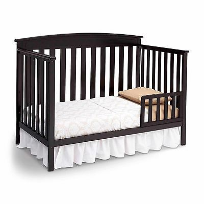 New 4 in 1 Convertible Baby Crib Mattress Toddler Nursery Bed Changer Side Black
