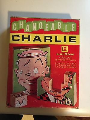 Vintage 1960 Changeable Charlie 11 Piece Changeable Faces Wood Puzzle