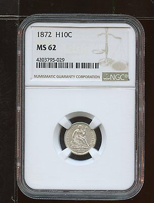 1872 P Seated Liberty Haft Dime H10C 5 Cent NGC Certified MS 62 Silver AA0166