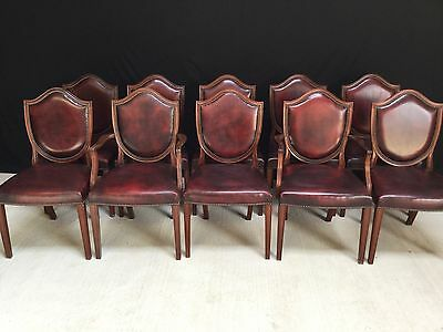 10 Oxblood Red Leather Sheild Back Style Mahogany Chairs Pro French Polished.