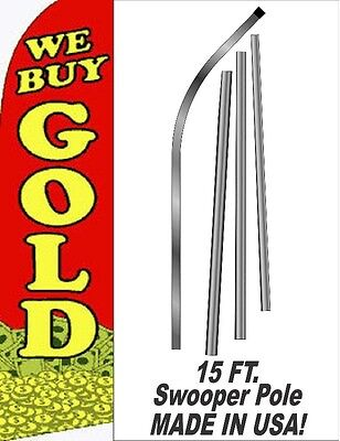 We Buy Gold RED COIN 11.5' TALL BOW FEATHER BUSINESS SWOOPER FLAG BANNER W/ POLE
