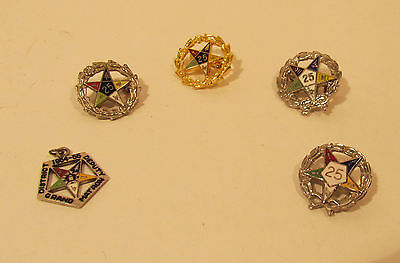 Collection of 4 Order of The Eastern Star Pins and Pendent