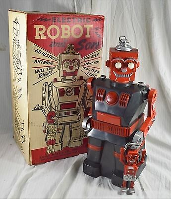 Vintage MARX Electric Robot and Son - With Box - Collectible Toy