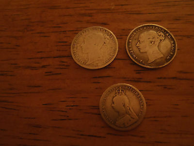 Queen Victoria Silver Coins 2 x 6d and 1 x 3d