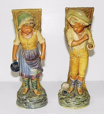 Pair of 19thC. Figures Boy & Girl Basket Carriers Royal Dux or Dresden 21cm Tall