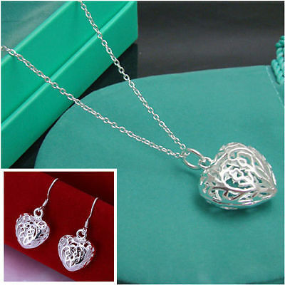 Elegant ladies solid 925silver Necklace&Earring+GIFT BOX