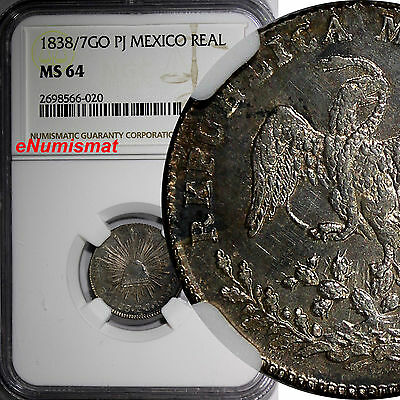 Mexico Silver 1838/7 GO-PJ 1 Real OVERDATE NGC MS64 TOP GRADED BY NGC KM# 372.6