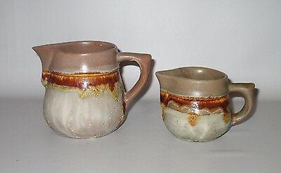Laurentian Pottery Tundra Creamers 1 Large + 1 Small Tan Brown 1970s Canada