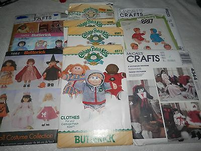 """Lot 10 doll clothes wardrobe  patterns,  18"""" dolls, Cabbage Patch +"""