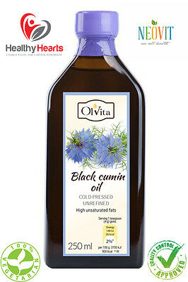 Black Cumin Oil / Black Seed Oil cold pressed, unrefined - 250 ML - Glass Bottle