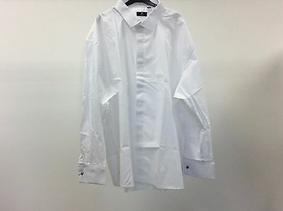 Mens White Standard Plain Dinner Tuxedo Formal Dress Shirt Size 20 1/2 9A290