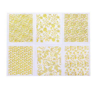 3 x Sheets Gold Moroccan Style Lace Stickers For Nail Art Decoration