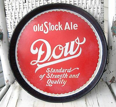 1940'sOLD Dow Old Stock Ale porcelain on steel bottle beer tray blue rim