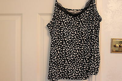 New, black and white pyjama camisole top, Marks and Spencer, 22 (UK)