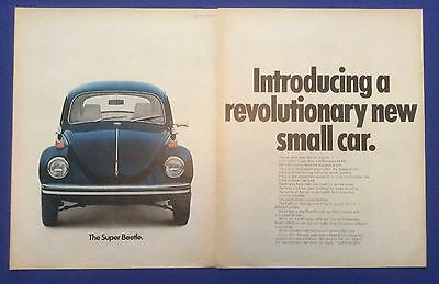 Vintage Print Ad 1971 VOLKSWAGEN SUPER BEETLE Revolutionary new small car