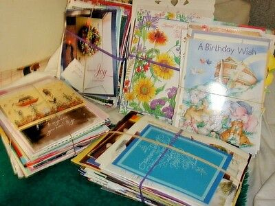 huge LOT OF USED GREETING CARD FRONTS, for crafts, scrape booking, etc