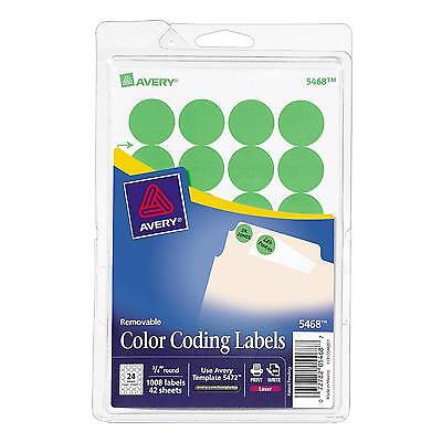 """Avery 3/4"""" Round Print & Write Color Coding Labels, GRN Neon, 1008/Pk"""