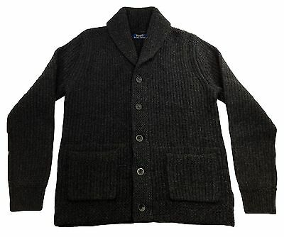 Polo Ralph Lauren Mens Wool Cashmere Charcoal Shawl Cardigan Sweater NEW $498
