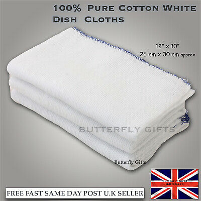 100% Pure Cotton White Dish Cloths Cleaning Kitchen Home Cloths Select QTY New