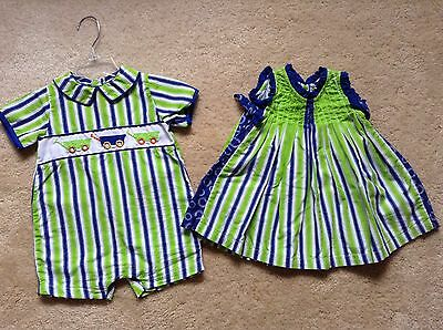 Adorable Boy Girl Infant Twin Matching Outfits - Size 9m