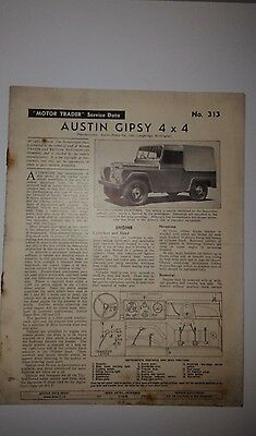 Original Service Data N0 313 Austin Gipsy 4X4 Dated 31 December 1958