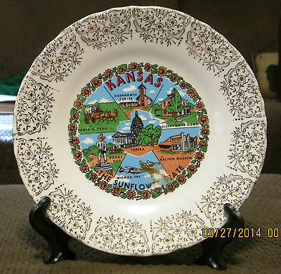 """Vintage State Plate 7 1/4"""" Kansas w/Gold Flower Lace Trim """"Sunflower State"""""""