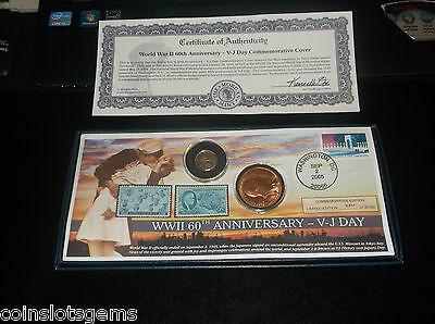 WWII V-J DAY COMMEMORATIVE WWII Coin Medallion Postage stamps LIMITED EDITION