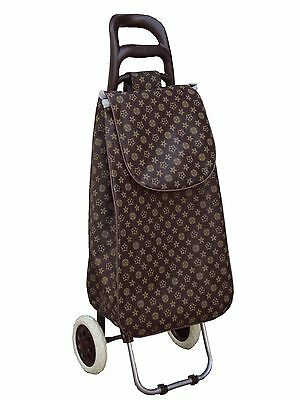 grocery folding shopping cart with bag carry on color ( brown )