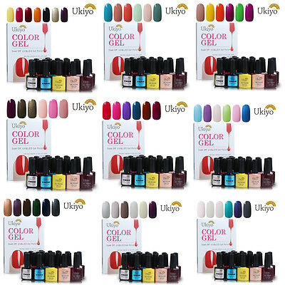 Ukiyo 10ml Soak Off UV Gel Polish Gelpolish 6 Colors No Wipe Top Base Coat Set
